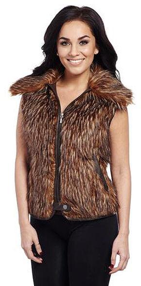 Cripple Creek Women's Brown Faux Fur Vest, Brown, hi-res