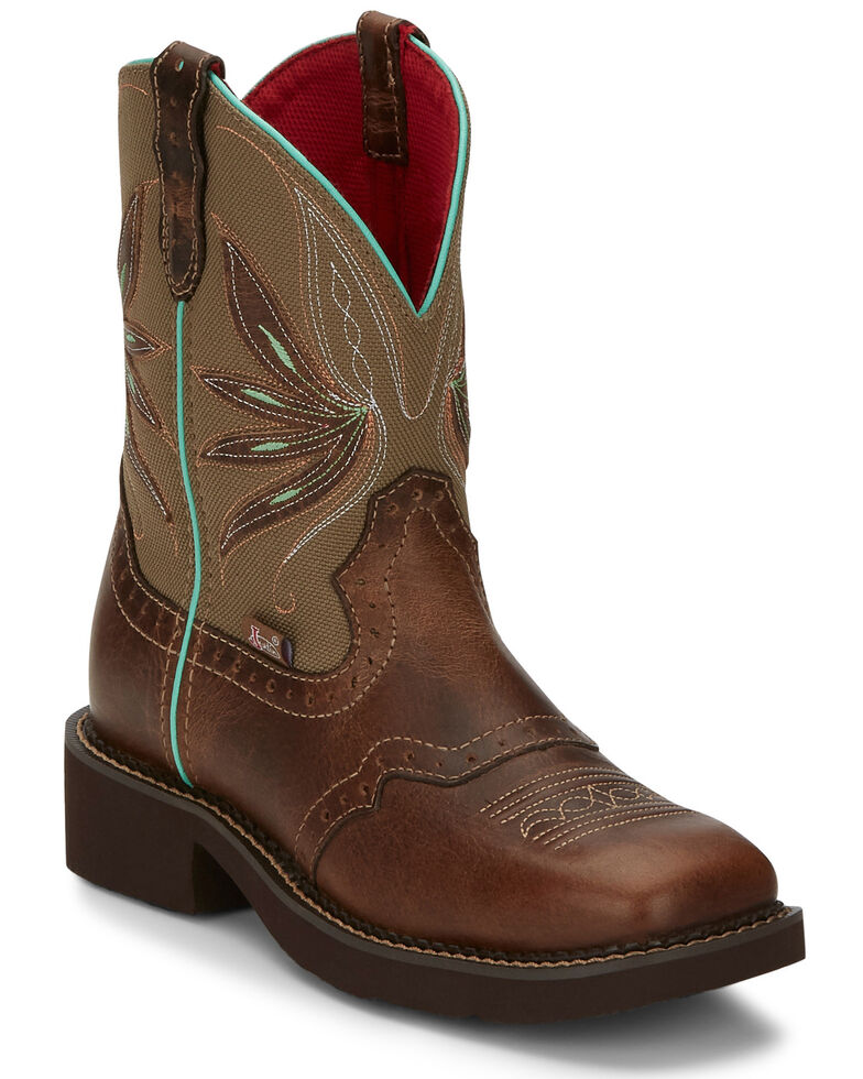 Justin Women's Nettie Tan Western Boots - Wide Square Toe, Olive, hi-res