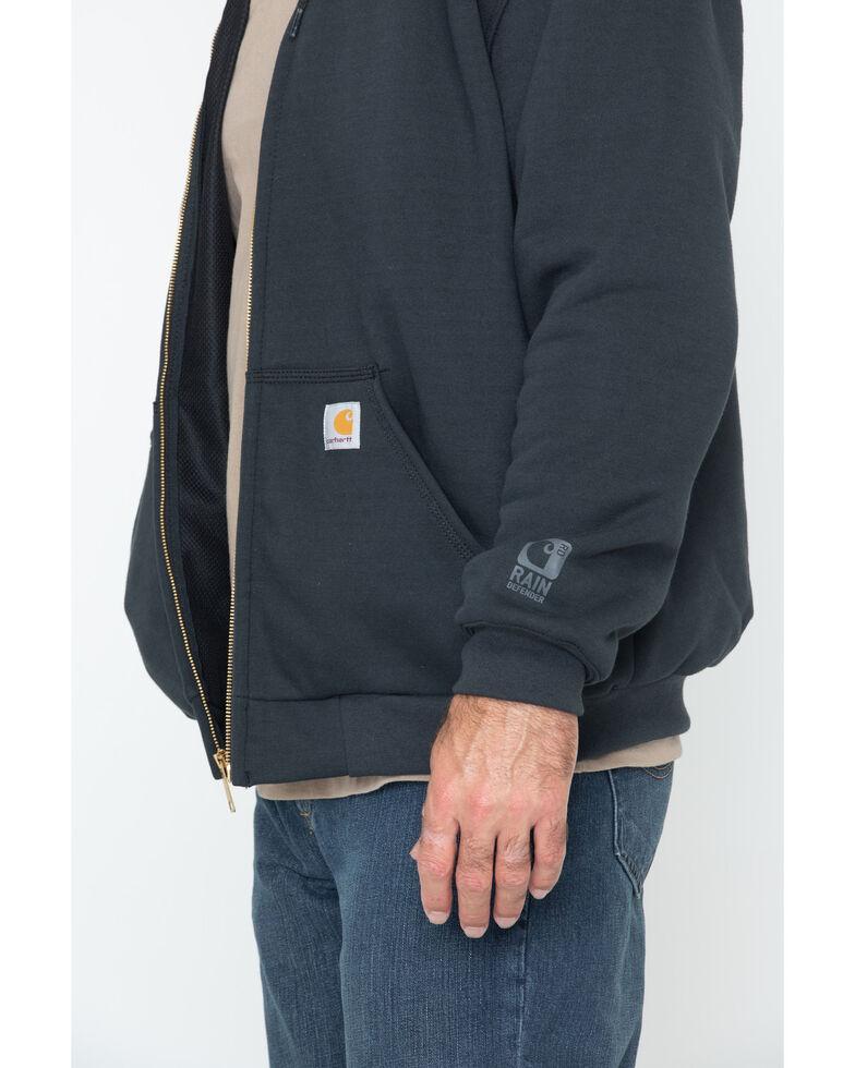 Carhartt Men's Rain Defender Rutland Thermal-Lined Hooded Zip-Front Work Jacket, Black, hi-res