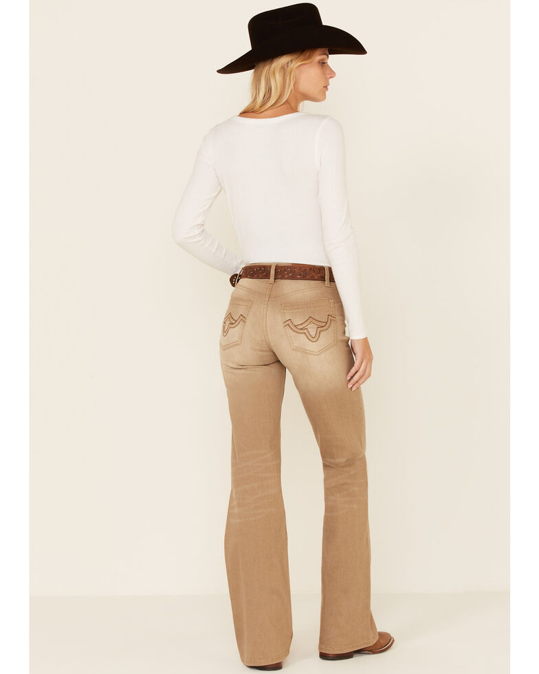 Shyanne Women's Tan Mid Rise Pintuck Riding Jeans, Tan, hi-res