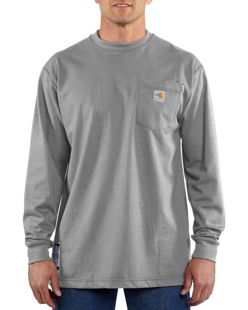 Carhartt Long Sleeve Pocket Fire Resistant Work Shirt, Grey, hi-res