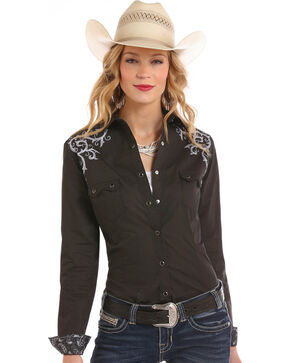 Rough Stock by Panhandle Women's Scroll Embroidered Snap Shirt, Charcoal, hi-res