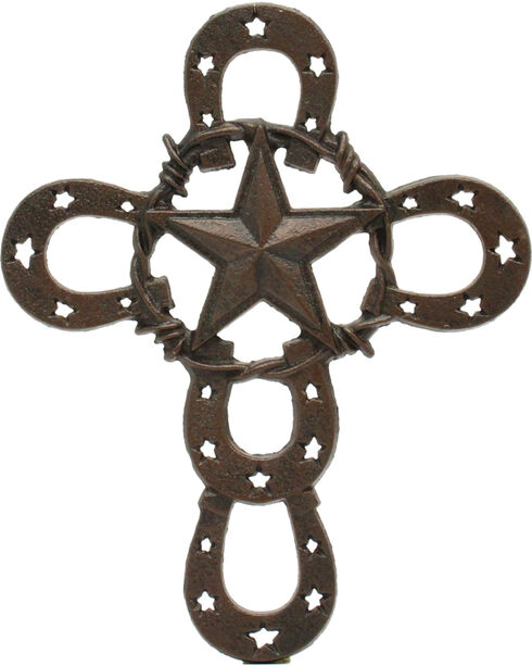 Western Moments Horseshoe Star Iron Wall Cross, Brown, hi-res