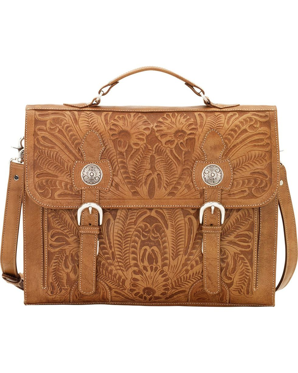 American West Tan Leather Stagecoach Laptop Briefcase, Tan, hi-res