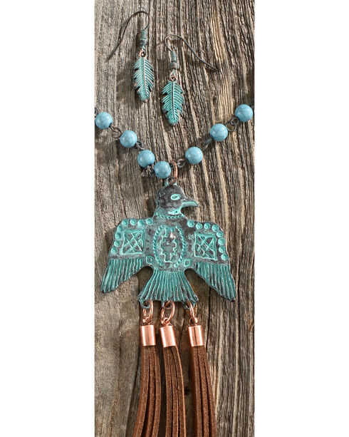 Shyanne Women's Patina Thunderbird Beaded Necklace and Earring Set, Rust Copper, hi-res