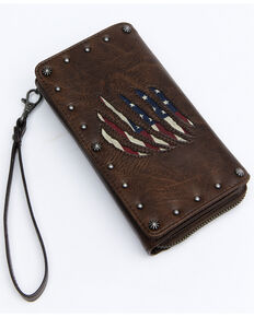 Shyanne Women's Americana Slashed Flag Wallet, Brown, hi-res