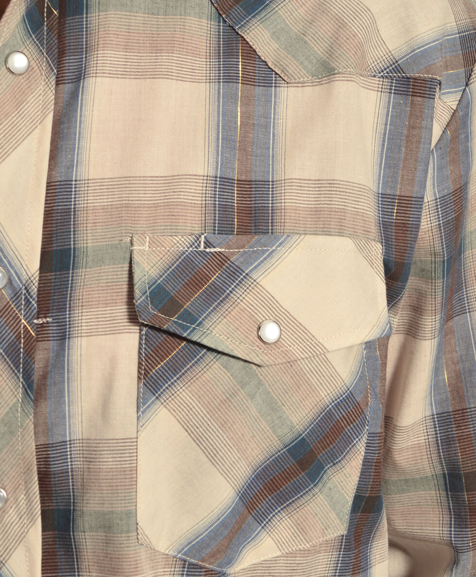 Gibson Trading Co. Tan & Navy Plaid Lurex Shirt, Tan, hi-res