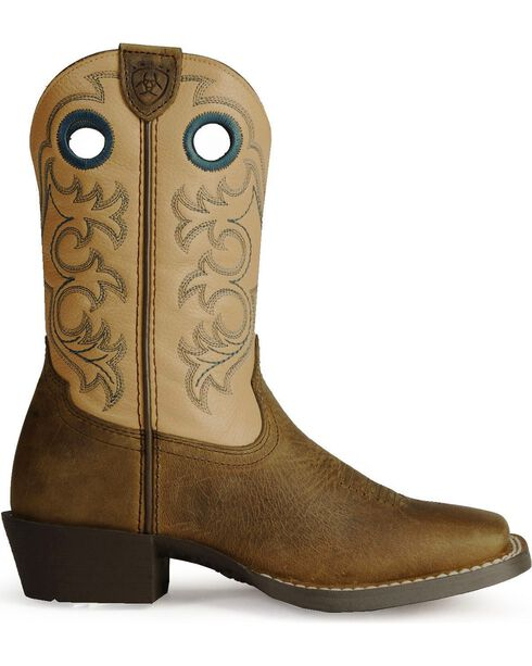Ariat Youth Boys' Crossfire Cowboy Boots - Square Toe, Distressed, hi-res
