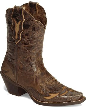 Ariat Brown Dahlia Wingtip Cowgirl Boot - Snip Toe, Brown, hi-res