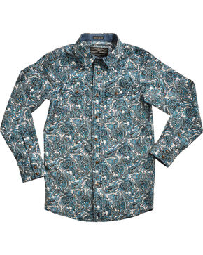 Cody James Boys' Paisley Patterned Long Sleeve Shirt, Blue, hi-res