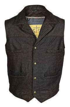 STS Ranchwear Men's Leather Ace Vest - 2XL-3XL, Brown, hi-res