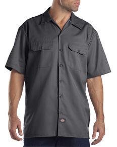 Dickies Short Sleeve Twill Work Shirt - Big & Tall-Folded, Charcoal Grey, hi-res