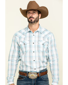 Gibson Men's Big Buck Down Plaid Long Sleeve Western Shirt , White, hi-res