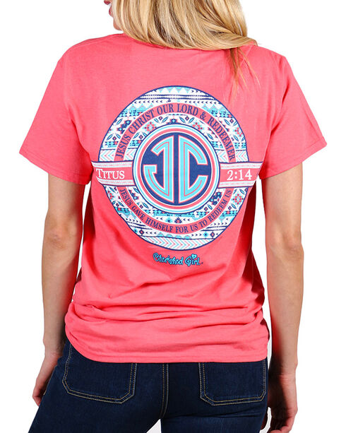 Cherished Girl Jesus Christ Monogram Tee , Coral, hi-res