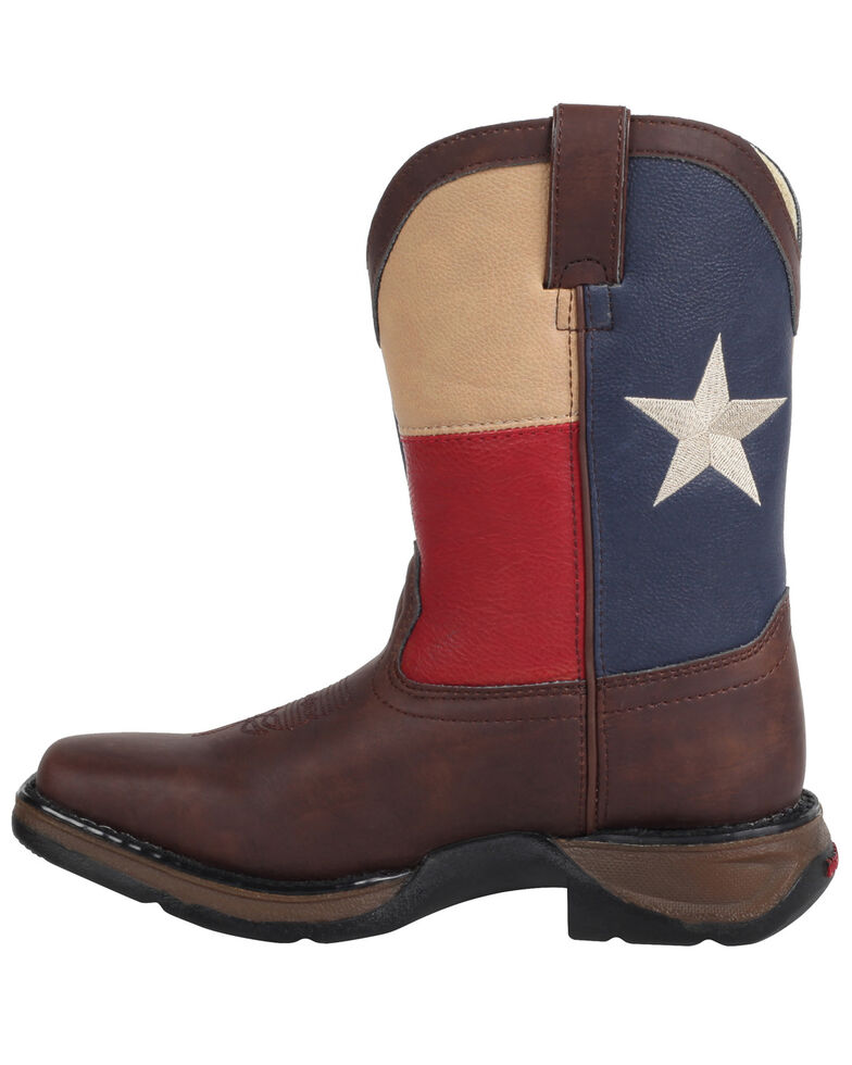 Durango Boys' Texas Flag Western Boots - Square toe, Brown, hi-res