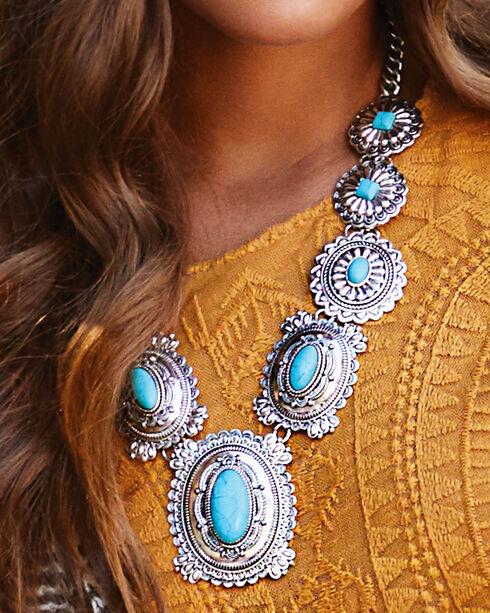 Silver Strike Women's Concho Chain Necklace, Multi, hi-res