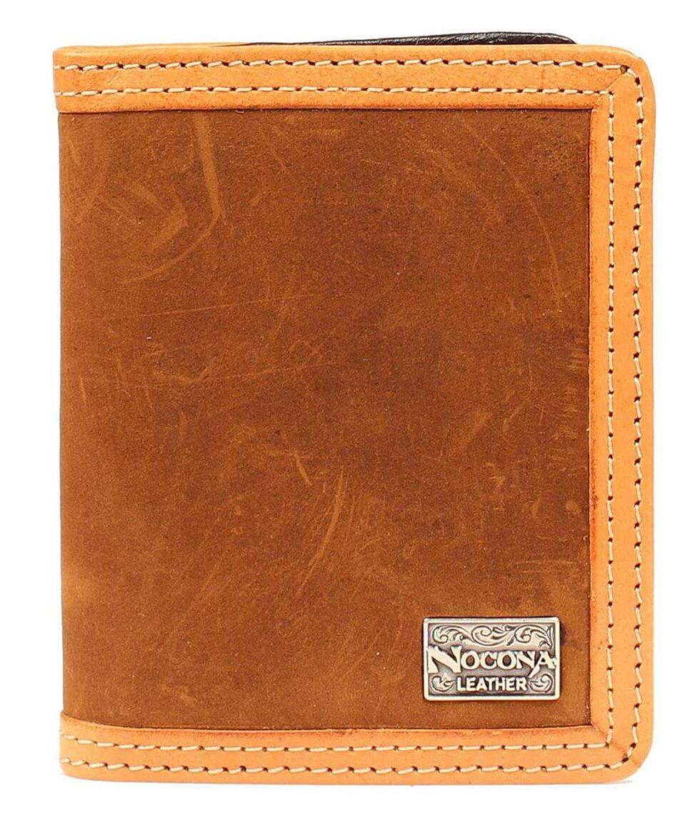Nocona Two-Tone Leather Trim Bi-Fold Wallet, Brown, hi-res