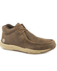 Roper Men's Clearcut Suede Leather Swifter Sole Chukka Shoes - Moc Toe , Brown, hi-res