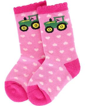 John Deere Girls' Pink Tractor Heart Socks , Pink, hi-res