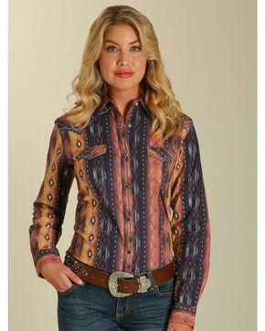 Wrangler Women's Aztec Long Sleeve Western Shirt, Multi, hi-res