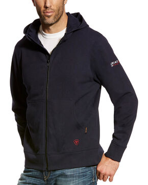Ariat Men's FR Full Zip Hoodie, Navy, hi-res