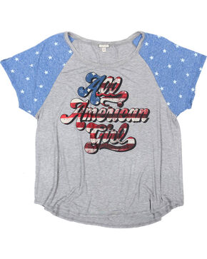 Eyeshadow Women's All American Girl Graphic Tee - Plus, Grey, hi-res
