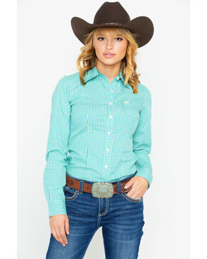 Cinch Women's Gingham Plaid Button Long Sleeve Western Shirt , Turquoise, hi-res