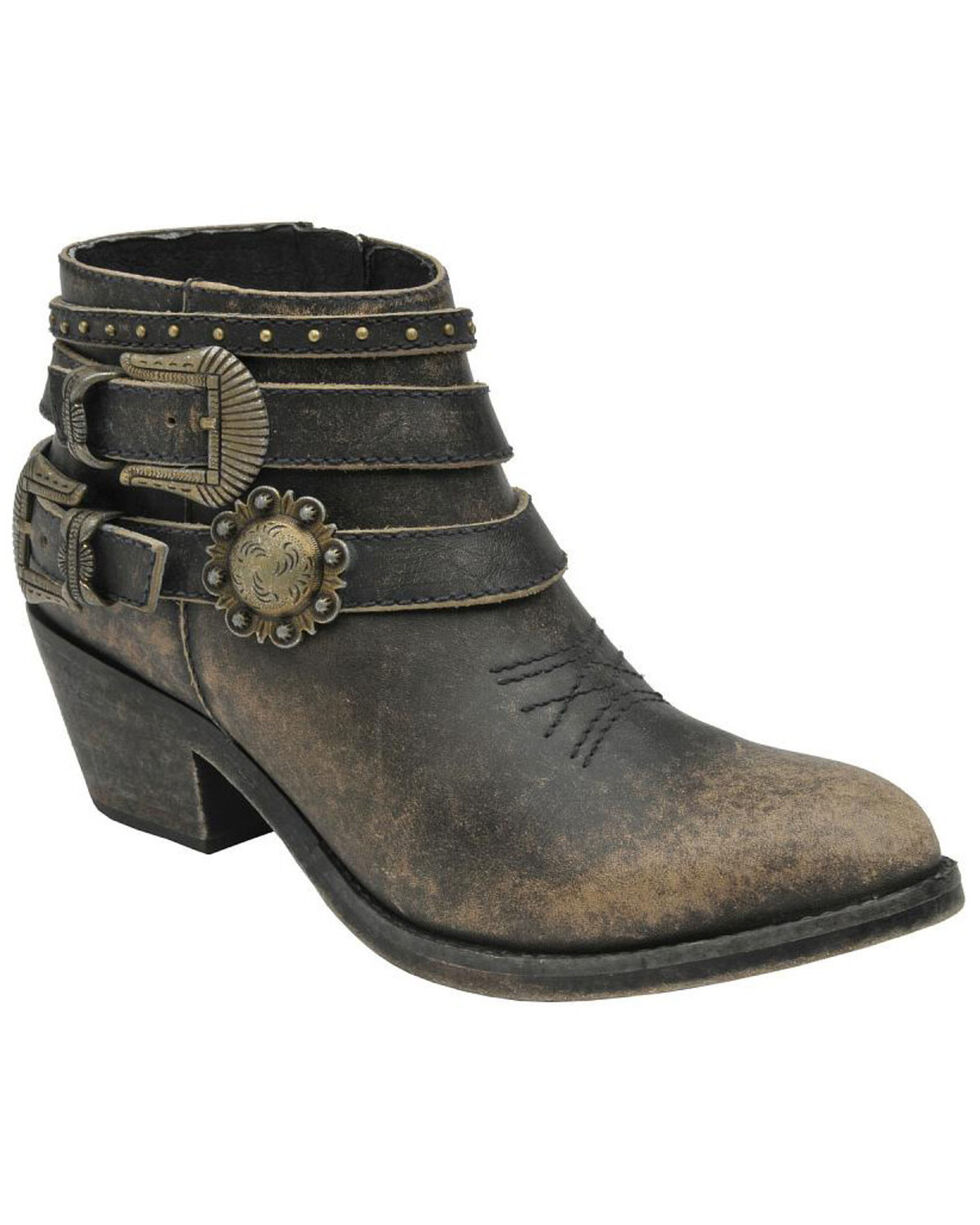 Circle G Women's Distressed Black Buckle Strap Ankle Boots, Black, hi-res
