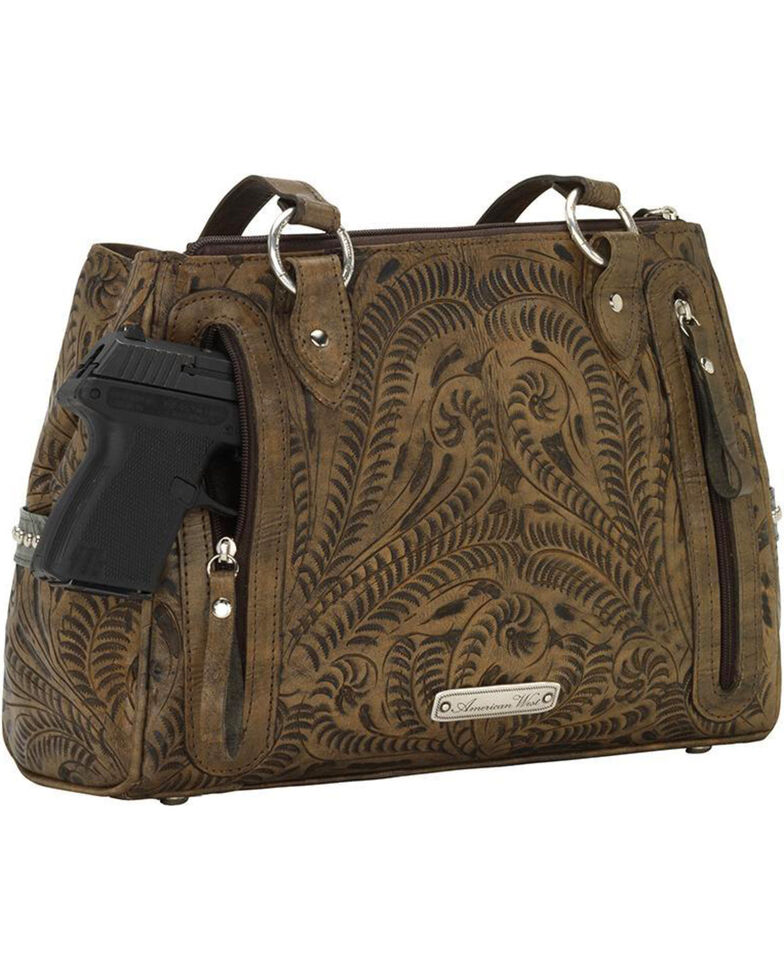 American West Women's Hand Tooled Concealed Carry Multi-Compartment Tote, Distressed Brown, hi-res