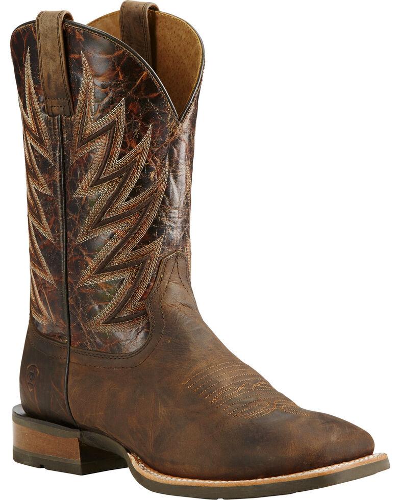 Ariat Men's Challenger Branding Iron Brown Cowboy Boots - Square Toe, Brown, hi-res