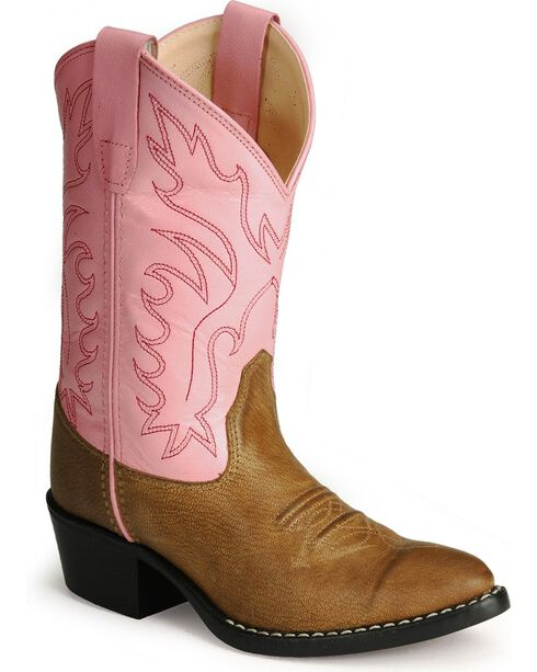Old West Girls' Pink Corona Calfskin Cowgirl Boots, Tan, hi-res