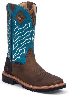 Justin Men's Derrickman Waterproof Work Boots - Steel Toe, Peanut, hi-res
