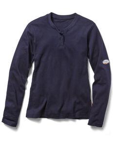 Rasco Women's FR Henley Long Sleeve Work Shirt, Navy, hi-res