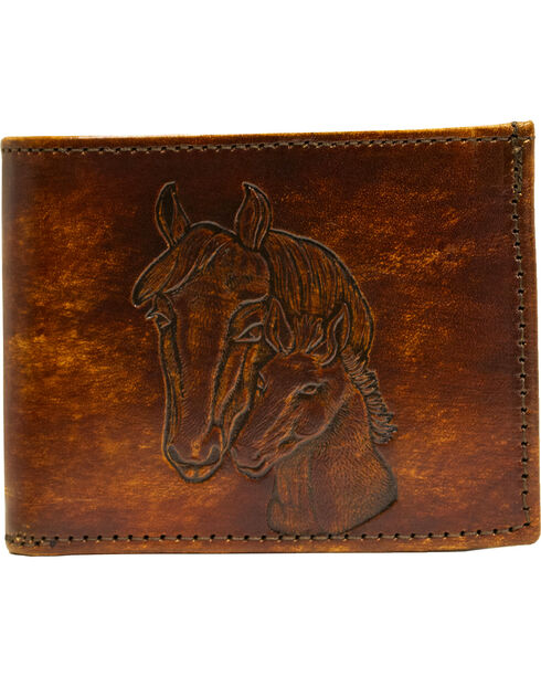 Western Express Brown Horses Leather Billfold Wallet, Brown, hi-res