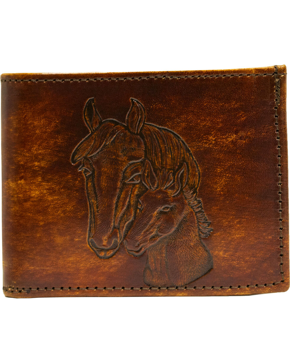Western Express Brown Horses Leather Billfold Wallet, Brown, hi-res