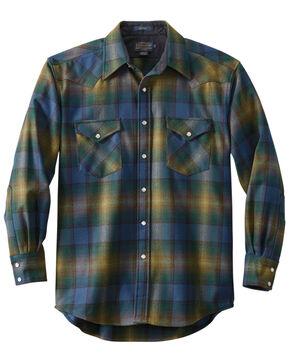 Pendleton Men's Green Canyon Plaid Long Sleeve Western Flannel Shirt , Green, hi-res