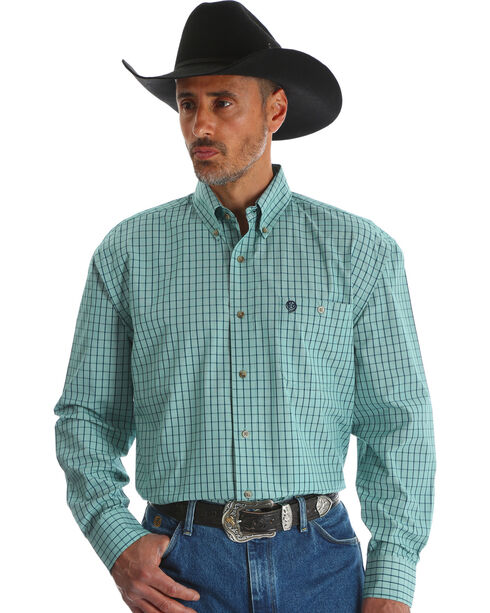 Wrangler Men's Green George Strait Button Down Shirt - Big & Tall , Green, hi-res