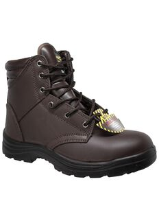 "Ad Tec Men's Brown 6"" Lace-Up Work Boots - Steel Toe, Brown, hi-res"