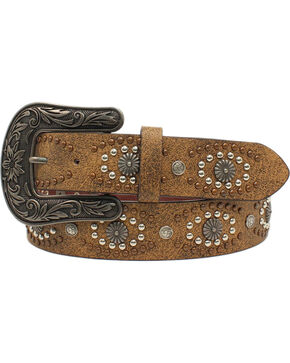 Nocona Women's Distressed Leather Silver Starburst Belt, Brown, hi-res