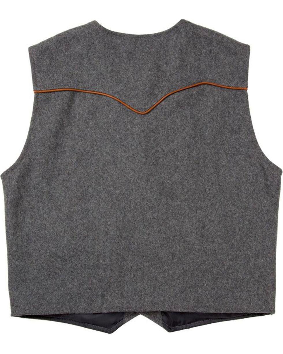 Schaefer Outfitter Men's Charcoal Stockman Melton Wool Vest - 2XLT, Charcoal, hi-res