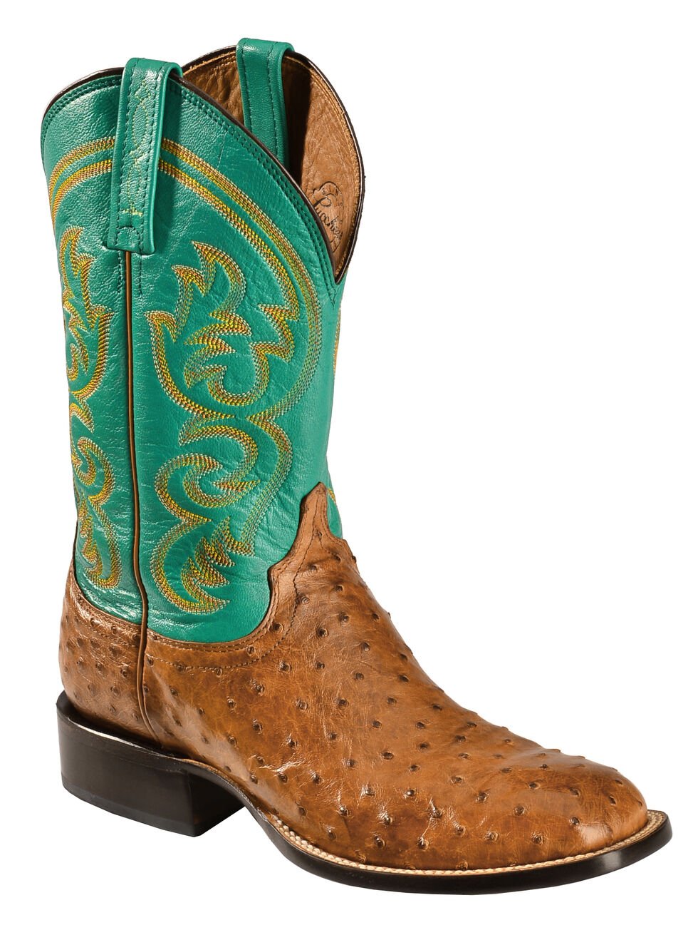 Lucchese Handcrafted 1883 Josiah Full Quill Ostrich Cowboy Boots - Square Toe, Tan, hi-res