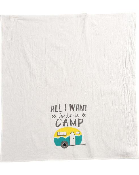 BB Ranch Want To Camp Tea Towel, Teal, hi-res
