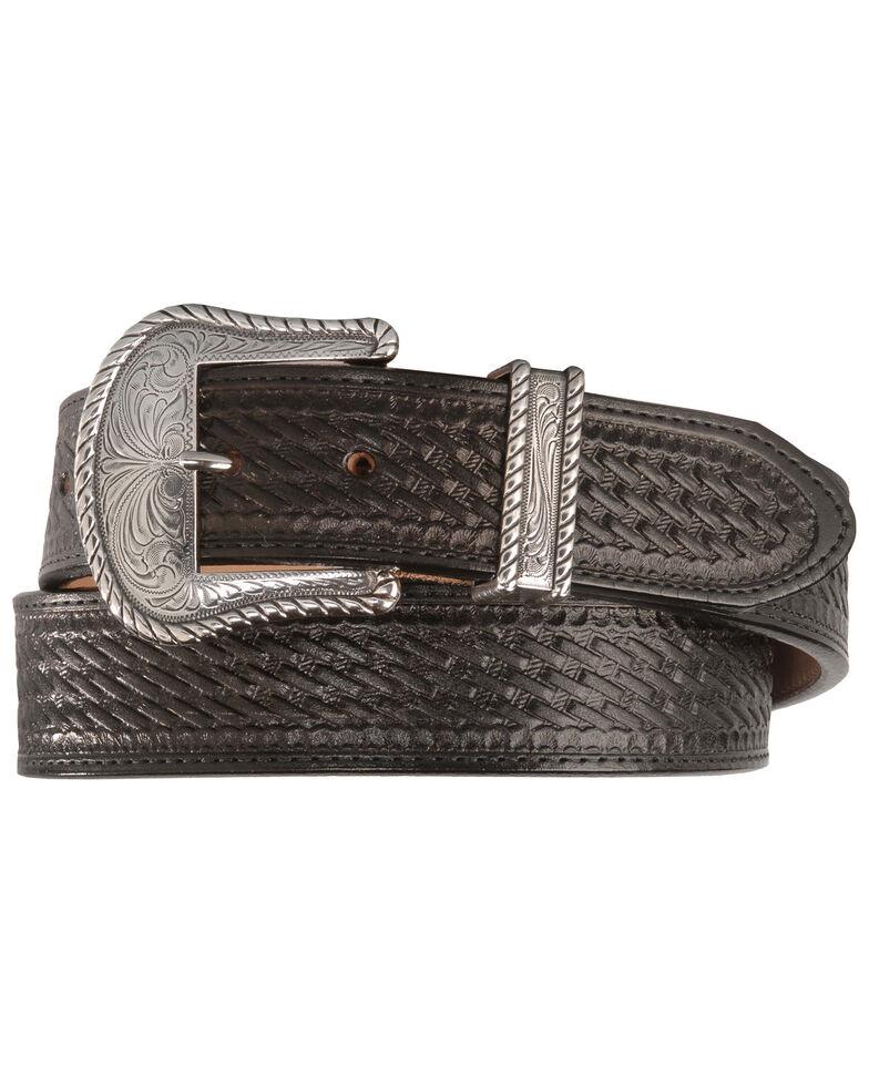 Justin Bronco Basketweave Leather Belt, Black, hi-res