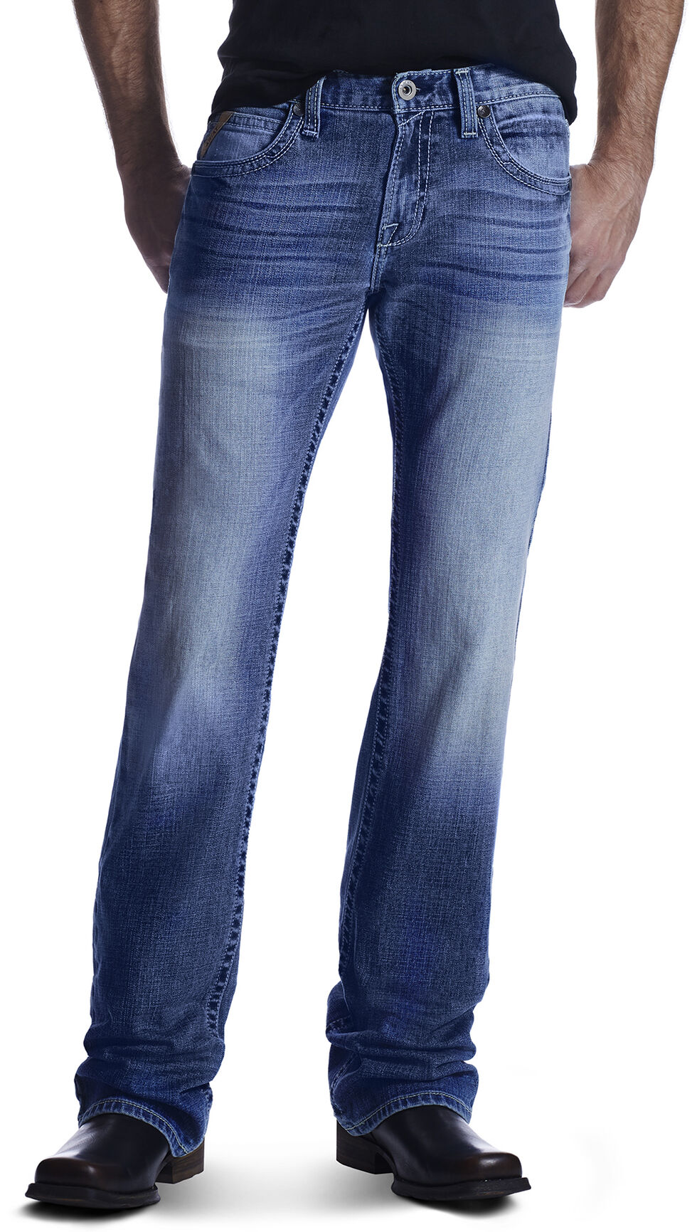 Ariat Men's M7 Rocker Shotwell Cinder Boot Cut Jeans, Med Blue, hi-res