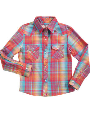 Panhandle Girls' Rainbow Plaid Long Sleeve Shirt , Multi, hi-res