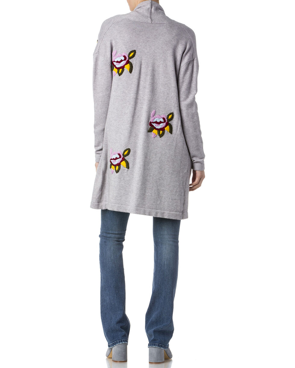Miss Me Women's Grey Floral Embroidered Sweater , Grey, hi-res