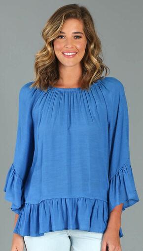 Wrangler Rock 47® Women's Blue Ruffle Sleeve Western Top, Blue, hi-res