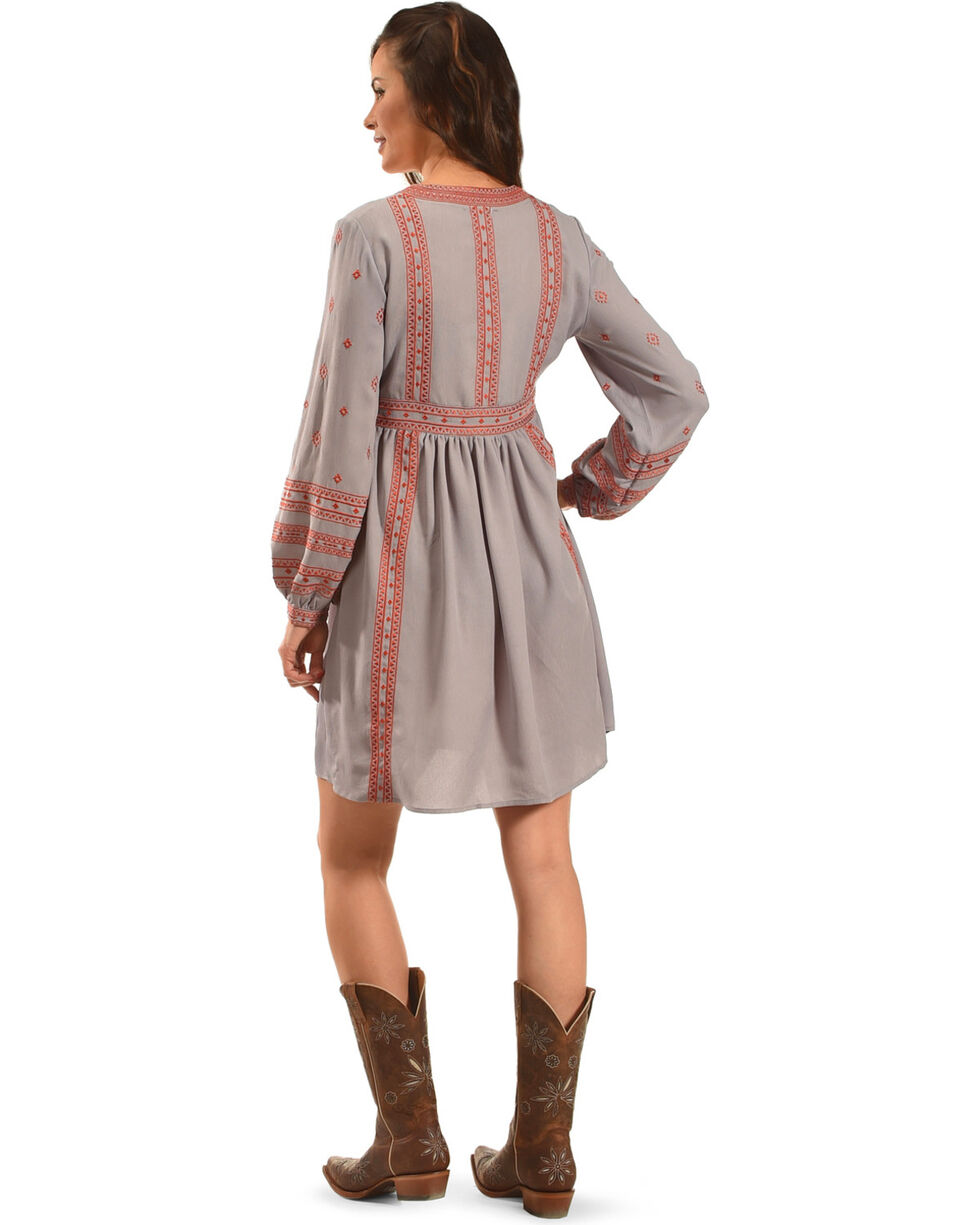 MI. OH. MI. Women's Tie Neck Embroidered Dress, Grey, hi-res