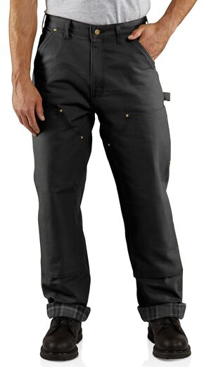 Carhartt Firm Duck Double Front Dungaree Flannel Lined Pants, Black, hi-res