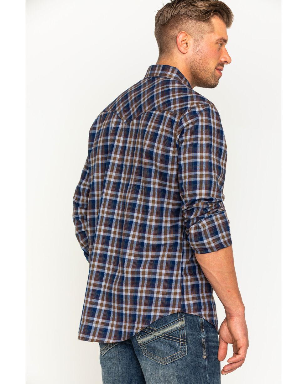 Wrangler Retro Men's Navy/Grey Plaid Premium Long Sleeve Snap Shirt, , hi-res